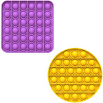 Fidget Pack Pop Pop – 2 pcs Pop Up Fidget Toys for Kids – Stress Relief Fidgets – Anti Stress Squeeze Toys (Green + Orange) (Set: Yellow + Purple)