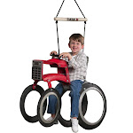 M & M Sales Backyard Outdoor Tree Case IH Tractor Tire Swing With Nylon Rope by VM Express