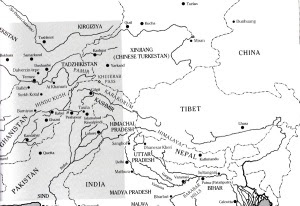Map of Central Asia including neighboring regions (Bopearchchi 1992)