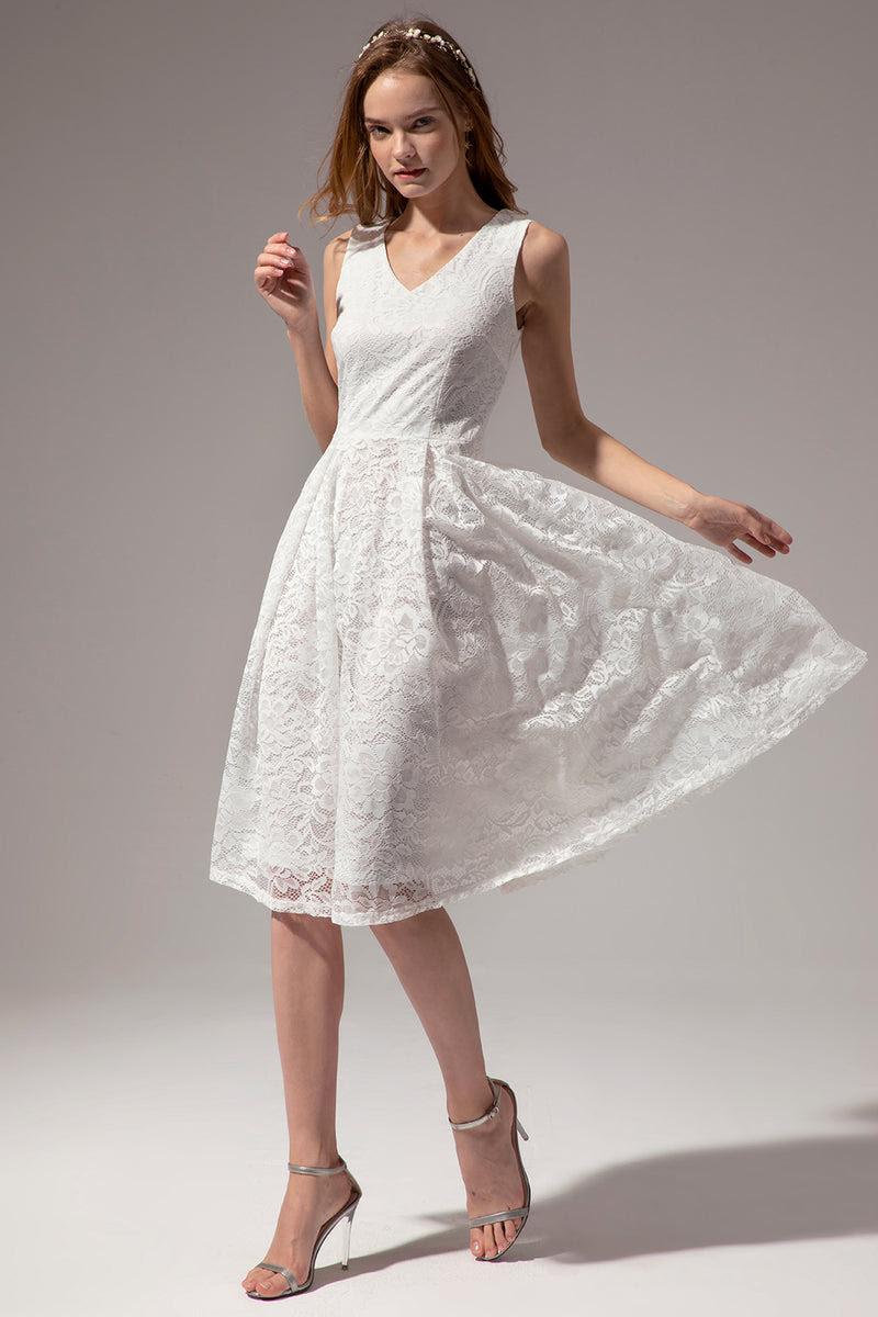 midi weißes spitzenkleid
