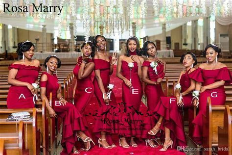 Sexy Burgundy Mermaid African Bridesmaids Dresses 2020 Mix