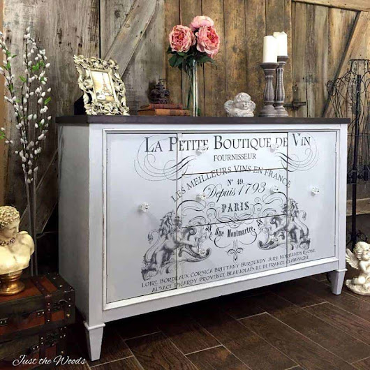 French Image Transfer on Cloudy Gray Vintage buffet