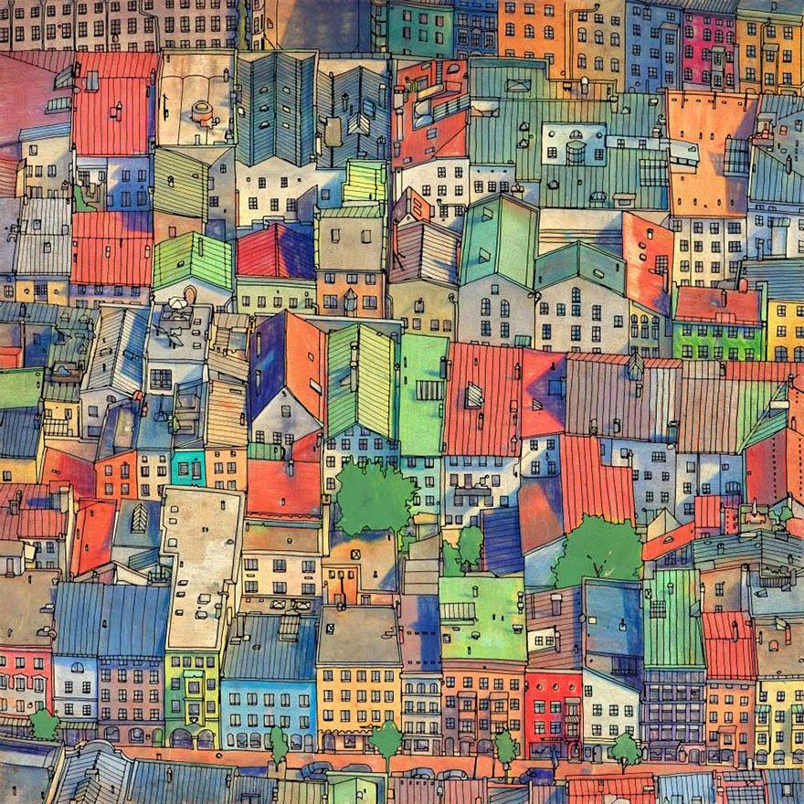 раскраски книга-взрослых-фантастические-города-Стив Макдональд-19