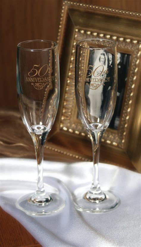 50th Wedding Anniversary Champagne Flutes   Champagne