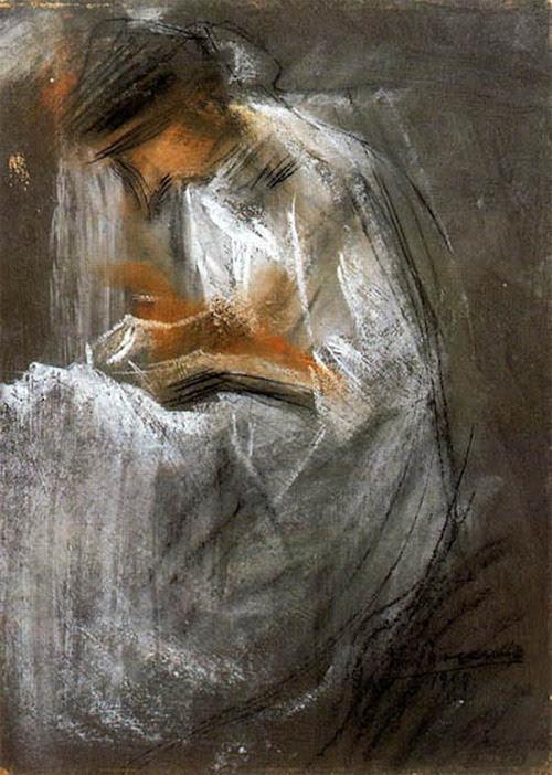 books0977:  Umberto Boccioni (1882-1916) Young Woman Reading (1909) - Mixed technique.
