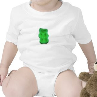 Pixelated Green Gummy Bear Baby Bodysuits