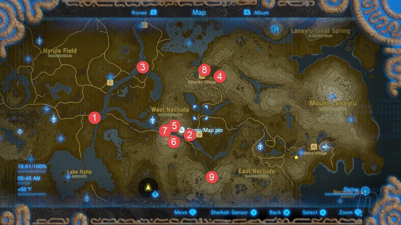 Zelda Breath Of The Wild All Shrine Locations Walkthrough