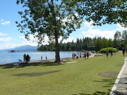 Commons Beach Park is located in Tahoe City at Lake Tahoe
