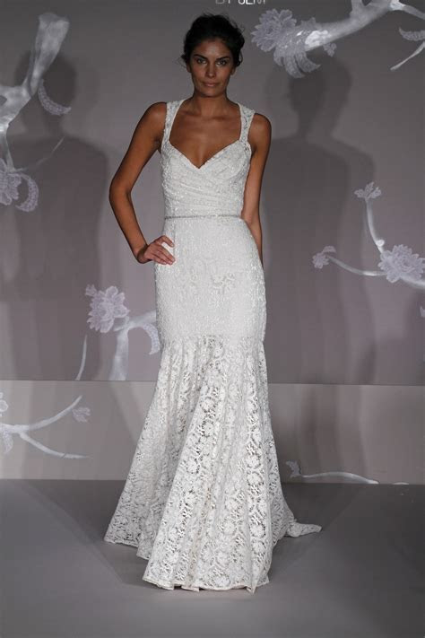 All lace white mermaid wedding dress with v neckline and