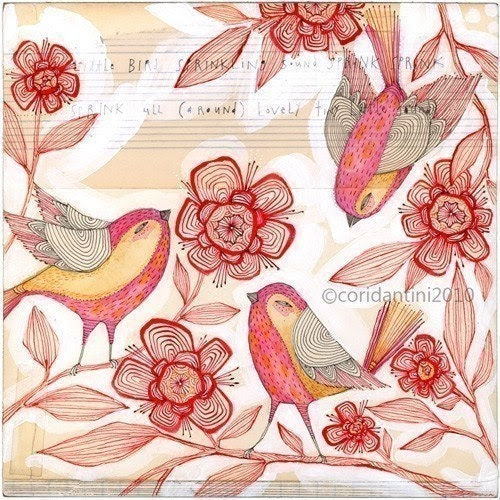 bird print, limited edition and archival, 8 x 8 inches - Sprinkling sound,  by cori dantini