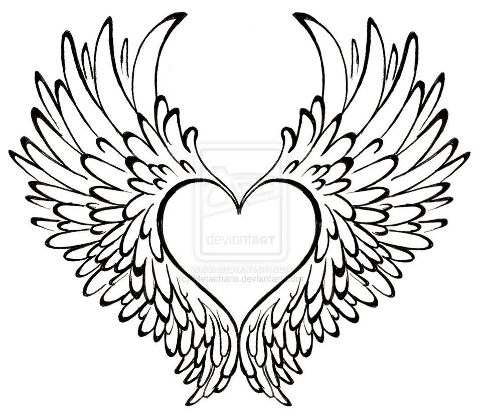 Easy Angel Wings Drawing At Getdrawingscom Free For Personal Use