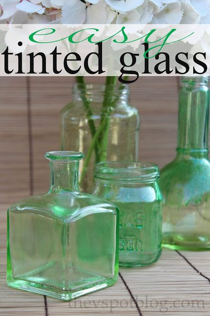 An easy upcycle project: tinted glass bottles and jars. - The V Spot