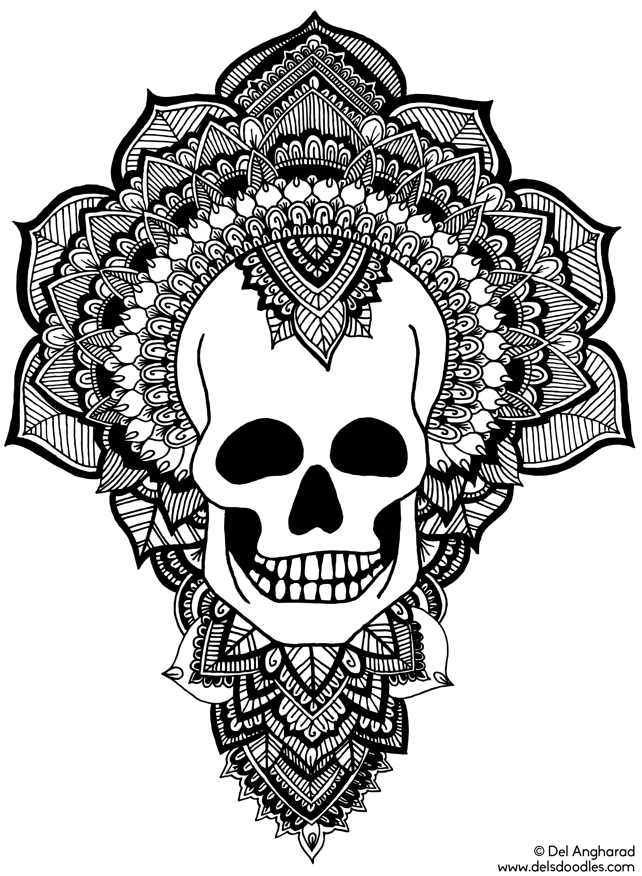 Skull Colouring Page by WelshPixie on DeviantArt
