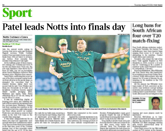 "Pro Sports Images on Twitter: ""PUBLICATION: Shot in The Times for @TomTraff working at @TrentBridge in #NatWestT20Blast QF for #ProSportsImages. """