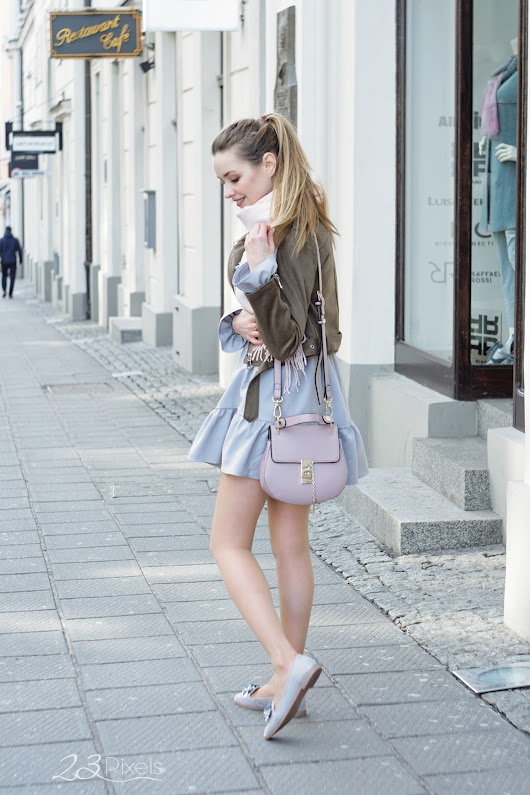 Girly look for Spring with brown biker jacket • Juliette in Wonderland