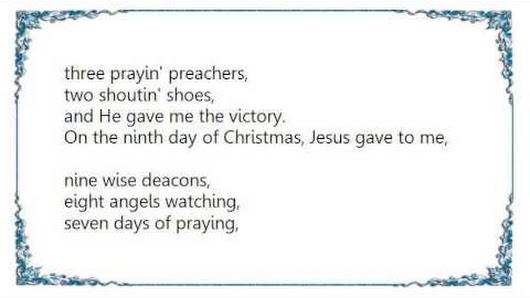 keith wonderboy johnson 12 days of christmas revised version lyrics