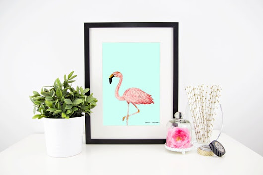 Art Print  Flamingo 17x17 in by CandiesandPixels on Etsy