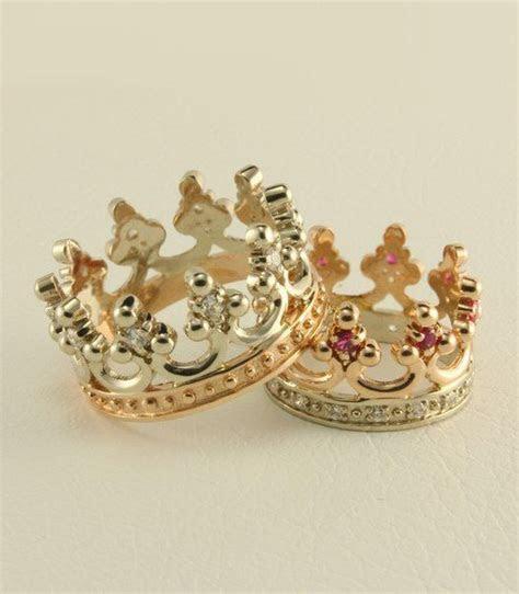 Crown two tone gold wedding ring set, Royal wedding rings