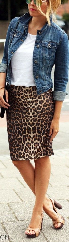 love everything about this outfit! - printed pencil skirt, white tee, blue jean jacket & heels