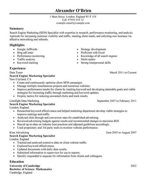 Best SEM Resume Example | LiveCareer