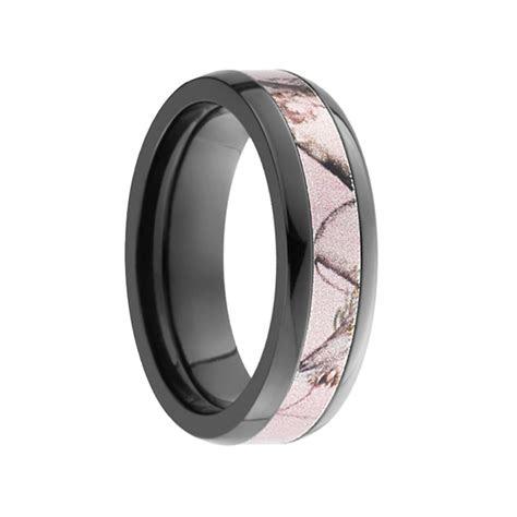 amazon domed black zirconium ring  pink camo inlay