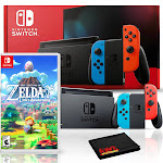 Nintendo Switch with Neon Blue and Red Joy-Con Bundle with The Legend of Zelda: Links Awakening