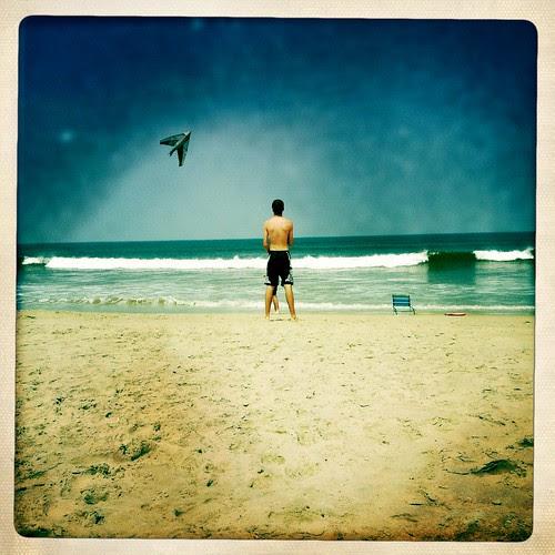 Patrick flying a kite