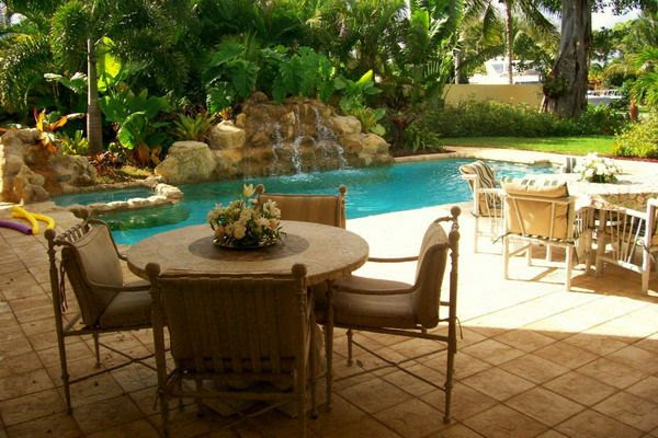 Tropical Back Yard Pool and Patio