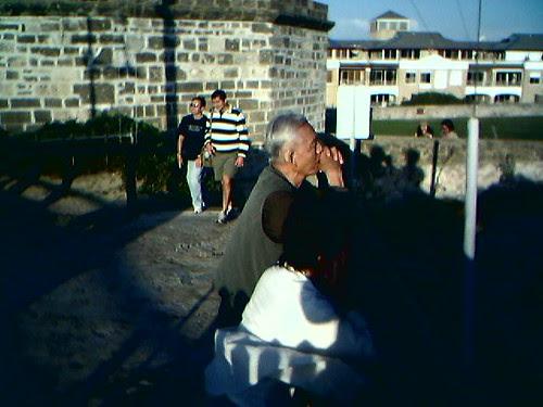Elderly Japanese couple watching the scenery