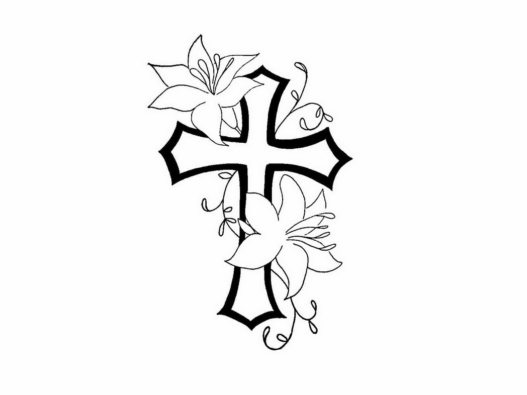 Outline Flowers And Cross Tattoo Design