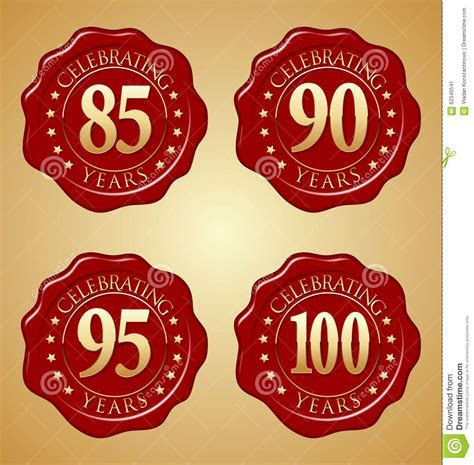 Vector Set Of Anniversary Red Wax Seal 85th, 90th, 95th
