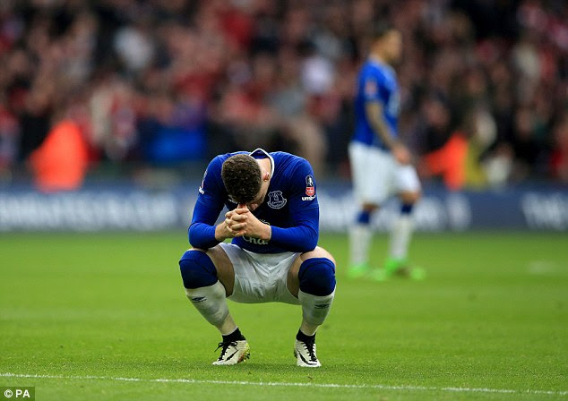 Ross Barkley cuts a dejected figure following Everton's FA Cup semi-final defeat by Manchester United