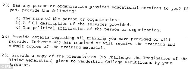 Three of the more than 90 questions the IRS posed to Linchpins of Liberty, including (#24) the demand for a list of everyone the organization had trained, or planned to train - all of whom would be students in college and high school