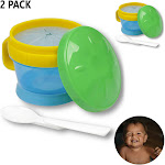 AllTopBargains 2 Pack Snack Catcher Baby Toddler Cup & Feeding Bowl w/ Spoon BPA Free Container
