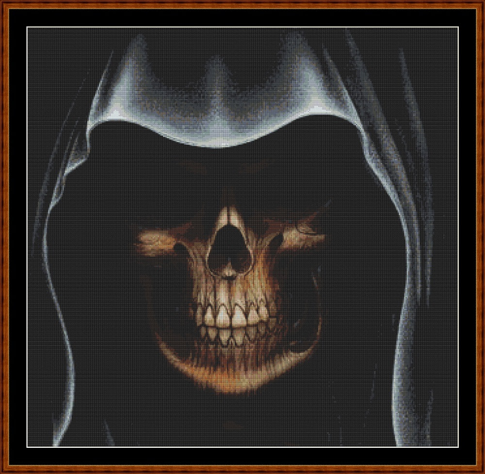 Black Grim Cross Stitch