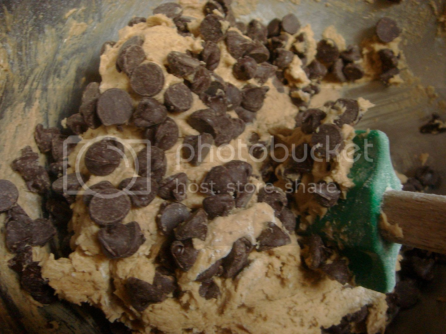 chocolate chips and cookie dough