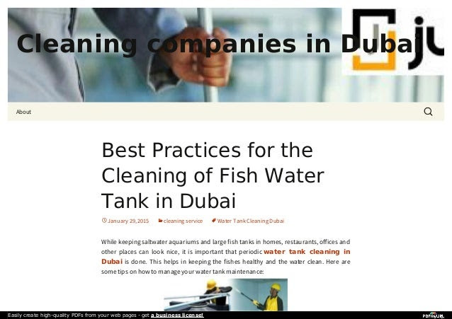 Best practices for the cleaning of fish water tank in dubai