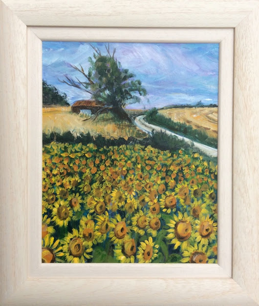 Sunflower Field Acrylic painting by Louise Stebbing