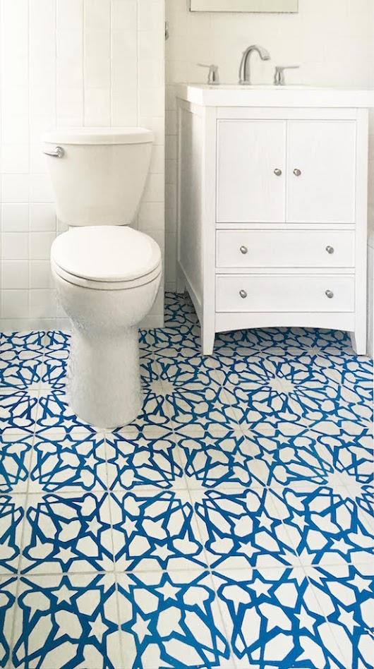 Cement Tile Adds Pattern, Color to Traditional Bath