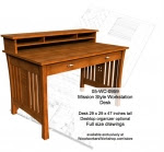 Mission style Workstation Desk Woodworking Plan - fee plans from WoodworkersWorkshop® Online Store - desks,workstations,solid wood furniture,Mission style furniture,drawings,plywood,plywoodworking plans,woodworkers projects,workshop blueprints