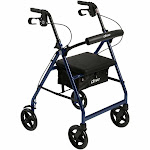 Aluminum Rollator Walker with Fold Up and Removable Back Support and Padded Seat, Blue, by Drive Medical