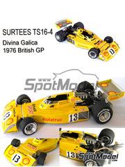 This Way Up: Maqueta de coche escala 1/43 - Surtees TS16-4 Rolatruc Shell Nº 13 - Divina Galica (GB) - Gran Premio de Inglaterra 1976 - maqueta de metal