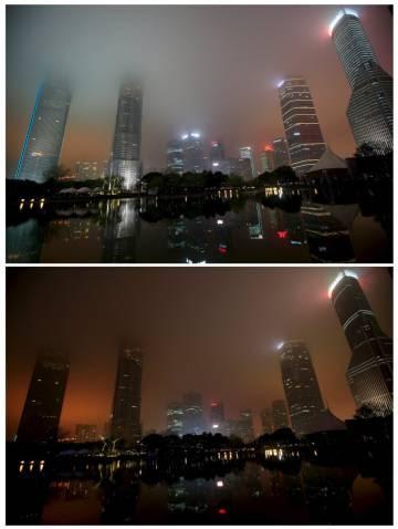 Una fotografía muestra la combinación del distrito financiero de Pudong antes (arriba) y durante la Hora del Planeta en Shanghai, China, 19 de marzo de 2016.