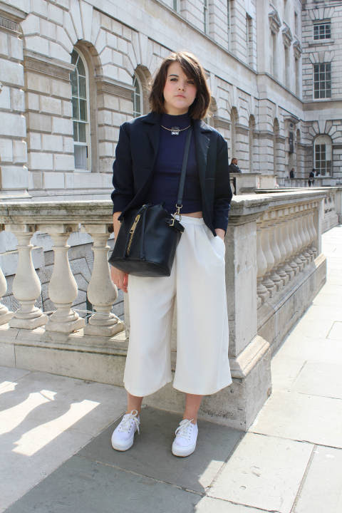 Emma wears: Bag & Necklace: Zara, Trousers, jacket, top: Topshop