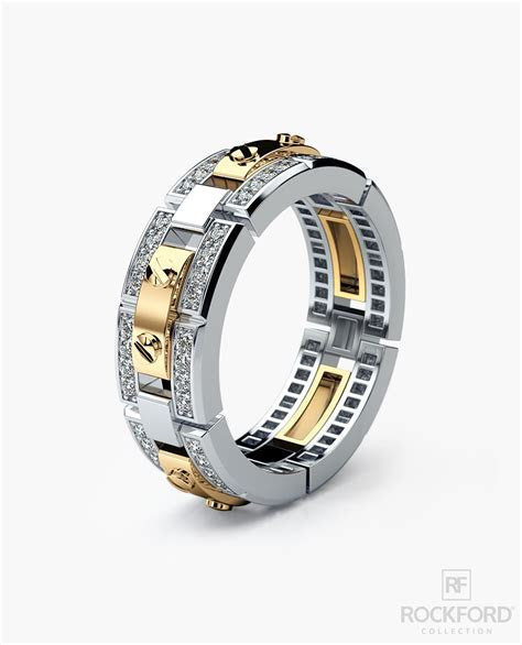 REX Mens Two Tone Gold Wedding Band with Diamonds