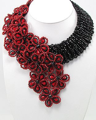 #Beaded Jewelry inquiry e-mail pin-jewelryorder@usa.net   Item Code: 51-756-762Red/Black