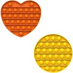 Fidget Pack Pop Pop – 4 pcs Pop Up Fidget Toys for Kids – Stress Relief Fidgets – Anti Stress Squeeze Toys (4 x Purple) (Set: Yellow + Orange)