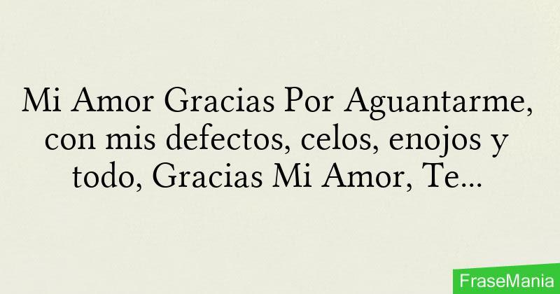 Mi Amor Gracias Por Aguantarme Con Mis Defectos Celos Enojos Y