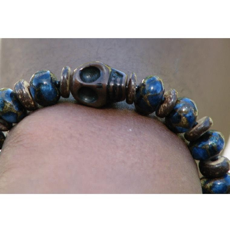 Skull Bracelet with Sodalite, Coconut Shell, and Bali Sterling Silver