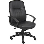 Executive Leather Budget Chair Black - Boss Office Products